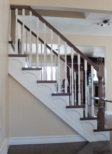 Stair remodeling in Waterloo. By Demas Woodworx.