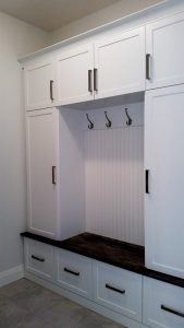 Mudroom cabinets with hooks and bench. Kitchener Waterloo.
